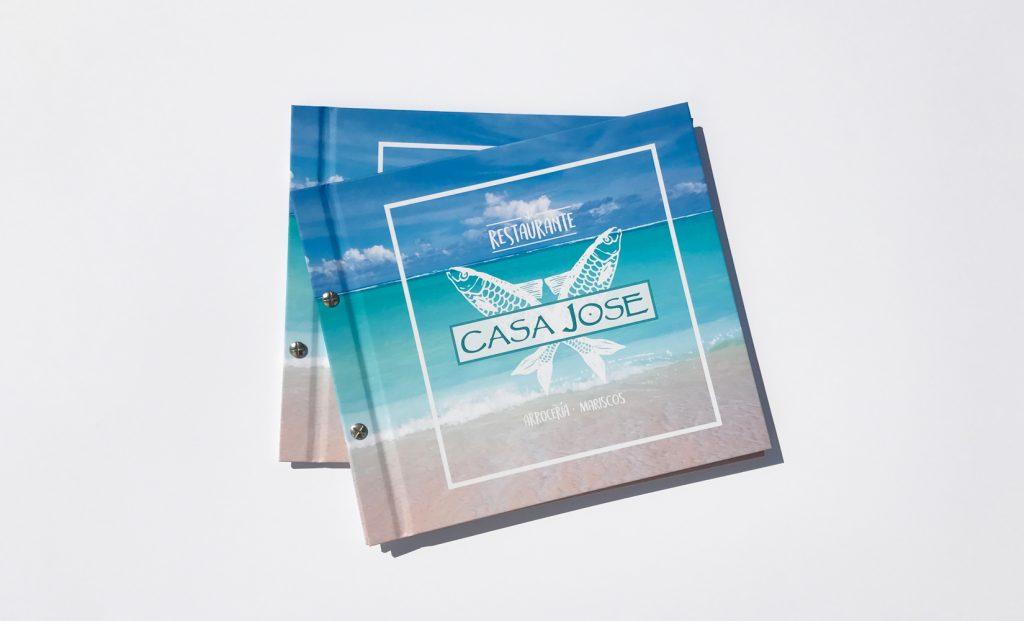 Impresión carta de restaurantes Casa Jose. Blauverd Impressors. Impresión Offset. Impresión Digital. Máxima calidad. Impresión digital económica. Impresión digital barata. Presupuesto personalizado.